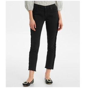 NEW Karl Lagerfeld Fringe Skinny Leg Ankle Jeans